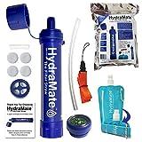 HydraMate Strohhalm-Wasserfilter.Entfernt Bakterien, Protozoen & Schwermetalle mit Carbon & UF-Membran.1200L/1500L Kapazität.BPA-frei. Einfache Handhabung.Mit faltbarer Trinkflasche und mehr., HMFS01, blau, Standard Filter Straw