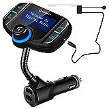 FM Transmitter Bluetooth-PERBEAT FM Schwanenhals Bluetooth Sender mit DAB Earn Antenne für Autoradio Adapter Freisprecheinrichtung Car Charger 2 USB Ports 5V / 2,4A & 5V / 1A AUX Port