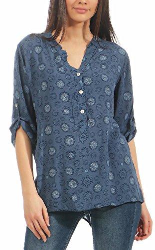 Malito Damen Bluse mit Print | Tunika mit ¾ Armen | Blusenshirt Auch Langarm Tragbar | Elegant - Shirt 6703 (Jeansblau)
