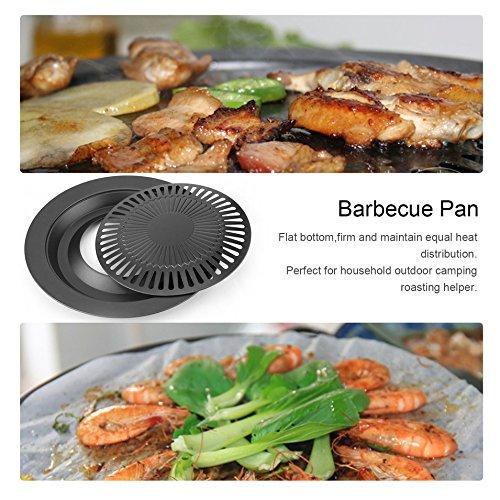 HermosaUKnight Antihafter runder rauchfreier Indoor-Grill-Grillpfanne mit Grill-Grillschale, schwarz