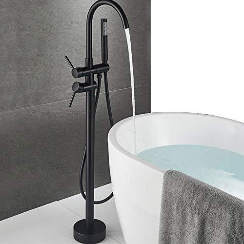 Onyzpily Bodenmontierte Badewanne Badezimmer freistehende Armatur ABS Handbrause Mischbatterie 360° Einlauf mit ABS Bad Kalt- und Warmwasser Mischbatterie Dusche Armatur Badewanne Wasserhahn