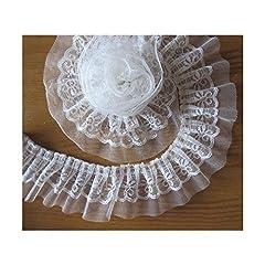 Idea Regalo - Nastro in organza a pieghe a 2 strati, colore bianco, per fai da te, costumi da matrimonio, cucito