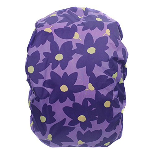 UEETEK Mochila de nylon flor mochila cubierta de la lluvia para senderismo Camping viaje púrpura, soporta 25-40L
