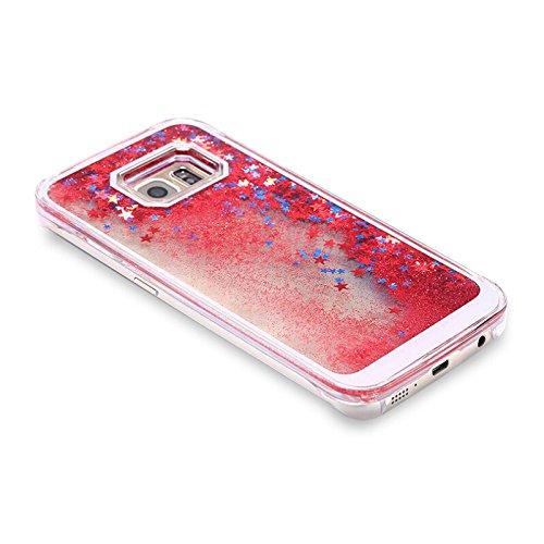 Handy Hülle Bling Bling Glitter Liquid Schutzhülle Cover Case Star Treibsand von ZhinkArts für Apple IPhone 4 / 4S Blau Stern Rot Stern