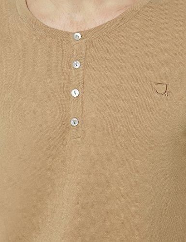 James Tyler Herren Feinstrick Langarmshirt mit Knopfleiste und Ellenbogenpatches Camel