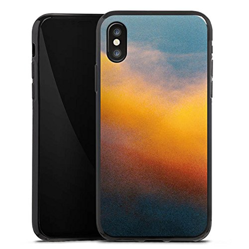 Apple iPhone X Silikon Hülle Case Schutzhülle Wolken Himmel Sonnenuntergang Silikon Case schwarz