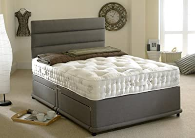 Happy Beds 1400 Silver Divan Bed Set Organic Pocket Sprung Mattress No Drawers No Headboard