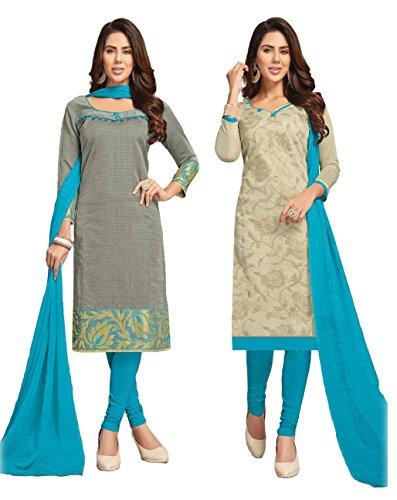 Shree Ganesh Retail Womens 2 Top Banarasi Jacquard & Chanderi Churidar Salwar...