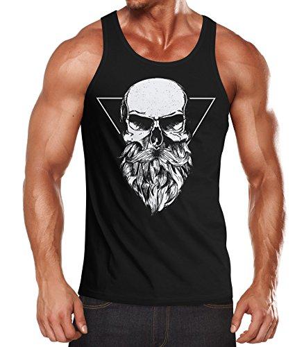 Neverless Herren Tank-Top Totenkopf mit Bart Triangle Muskelshirt Muscle Shirt Schwarz XXL
