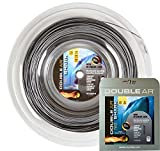 Double Ar - Corda Da Tennis Twice Shark, Monofilamento Co-Poliestere 1.25mm, Bicolor Grigio/Nero. Set Singolo 12Mt