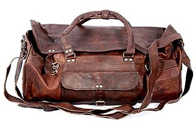 Cool Stuff Grand Sac Fourre-tout en cuir sac de voyage sac week-end Cabine Nuit Sport Sac fourre-tout (Marron)
