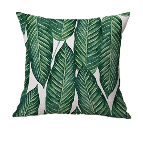 Indexp Natural Aloe Banana Leaf Printing Throw Cushion Cover Sofa Home Decoration Pillow case (Style C)