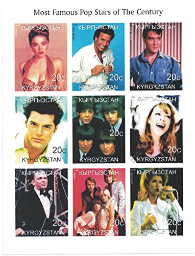 Briefmarken für Sammler - imperforfate Stempel Tabelle mit berühmtesten Pop Stars of the Centuary/Madonna/Elvis Presley/THE BEATLES/Frank Sinatra Pop-tabelle
