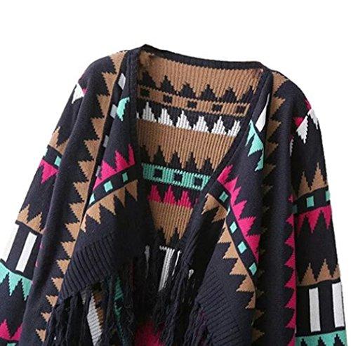 MILEEO Strickjacke Damen Frauen Elegant Lange Strickjacke Herbst Winter Warm Mantel Strick Locker Jacke Cardigan Langarmshirts Sweaters Outerwear Bluse Mehrfarbig