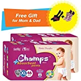 Super Champs High Absorbent Premium Pant Style Diaper (Pack Of 2) (Free Pair Of Secret And Loafer Socks) | Premium Pant Diapers | Premium Diapers | Premium Baby Diapers | Anti-rash And Anti-bacterial Diaper | (X-Large, 46)