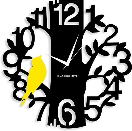 Blacksmith Aluminium Sparrow On Tree Wall Clock (Black and Yellow)