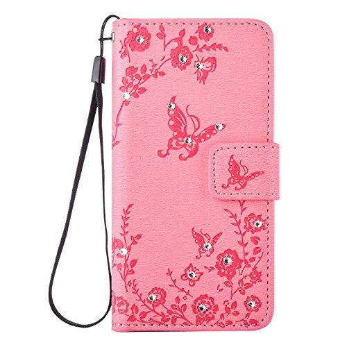 Samsung Galaxy Core Prime G360 G360F Case,Samsung Galaxy Core Prime G360 G360F Cover,Cozy Hut Bling Wallet Case for Samsung Galaxy Core Prime G360 G360F,Luxury Elegant Bling Shiny Glitter Diamond Butterfly Flower Design Book Style Leather Magetic Wallet Flip Case Cover with Rope/Strap and Stand for Samsung Galaxy Core Prime G360 G360F - Pink Test