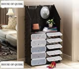 House of Quirk Plastic and Iron 10 Drawer Portable DIY Closet Cabinet with Hanging Option, 68.5x36x14.2inch (White and Black)