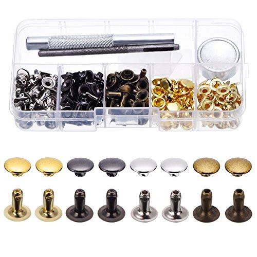 120 Set Leder Nieten Einzelkappe Nieten Tubular Metall Bolzen mit Fixing Werkzeug Set für Leder Handwerk Reparieren Dekoration, 4 Farbe
