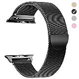 MUEN per Cinturino Apple Watch 42mm(44mm) Nero Band Sostituzione Accessori Loop in Maglia Milanese per iWatch Serie 1,2,3,4