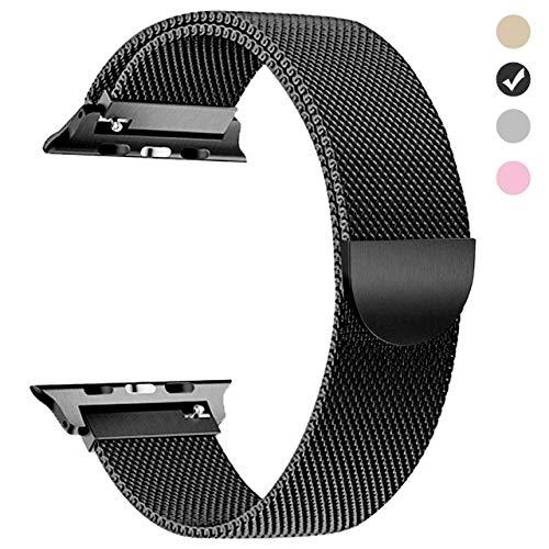 适用于iWatch 42系列的Apple Watch Strap 44mm(1,2,3,4mm)黑带更换米兰环配件