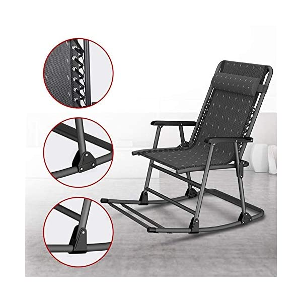 LYATW Beach Folding Rocking Chair,home Balcony Adult Recliner Nap Lazy Folding Chair Summer Leisure Chair Lazy Office Outdoor LYATW Folding chair:The seat is suspended in its frame and supports your weight evenly to help reduce pressure points. High quality pipe racks strengthen the load-bearing capacity. In addition, it also enhances the stability and safety of the deck chair. Padded pillow is adjustable and completely removable allowing it to serve as a headrest, lumbar support or for other support purposes. Space Saving:The folding design makes it space-saving when not in use. You can just fold it up to a flat piece. 7