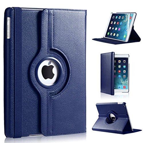 Schutz PU-Leder 360Drehbare Hülle Stand Cover für Apple iPad Mini 4(dunkelblau)