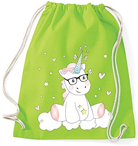 Jutebeutel Turnbeutel Sportbeutel Stofftasche Baumwolltasche Tasche Rucksack mit Kordel Cotton Gymsack Unicorn Einhorn cutie mit Brille (Navy) Gelb