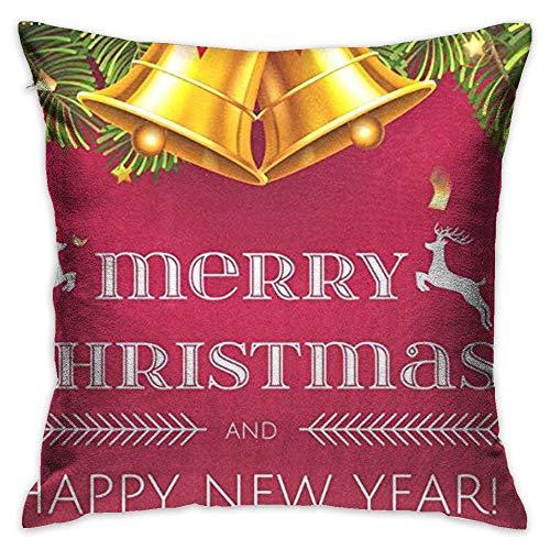 FPDecor Dekorativ Kissenbezug, Throw Pillow Cover Merry Christmas Tree Bell Deer Elk Snowflakes Decorative Pillow Case Decor Square 18x18 Inch Cushion Pillowcase