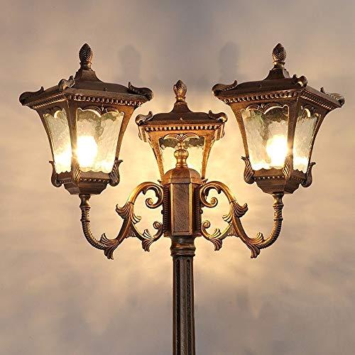 Im Freien Landschaftsstraßenlaterne aus Aluminium Rustic Bronze Rasen Stehlampe Hohe Pole Wasserdicht IP55 Weinlese-Wand Hof Pfosten Säule Laterne (Größe : 3.05m)