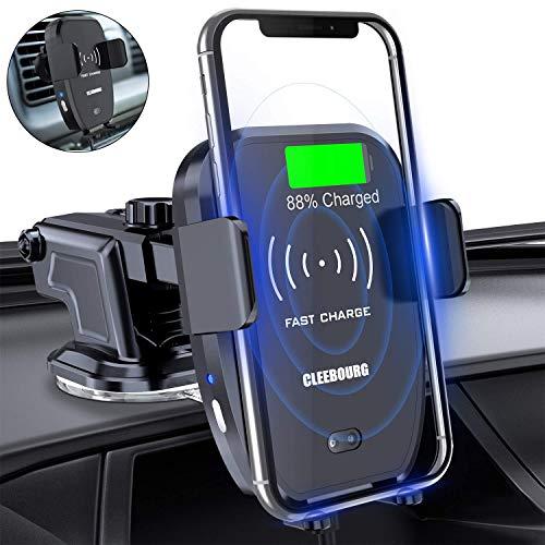 CLEEBOURG Wireless Auto Ladegerät, 2-1 Wireless Charger mit IR Sensor intelligenten Handyhalterung für iPhone XS/Xs Max/XR/X/ 8/8 Plus, Samsung S10 /S10+/S9 /S9+/S8 /S8+ -