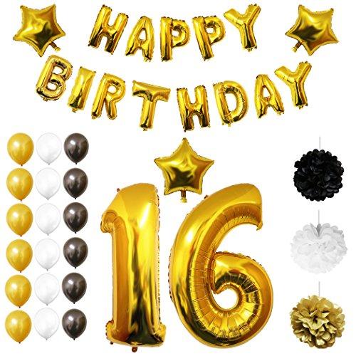 Happy Birthday Party Luftballons u. Dekoration zum 16. Geburtstag von Belle Vous - 26-tlgs. Set - Großer 16 Jahre Luftballon - 30,5cm Gold, Weiße u. Schwarze Dekorative Latexballons - Für Jugendliche (Set Nautische Kleid)