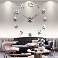 DIY Wanduhr Moderne Clock 3D Acryl Spiegel Metall Rahmenlose Wandaufkleber  Groß Uhren Style Raum Home Dekorationen