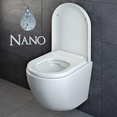 Design Wand Hänge WC ohne Spülrand Spülrandlos Toilette Sitz Softclose hängend 4 - 2