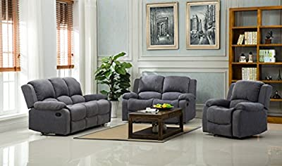 Lovesofas Lazy Boy Valencia Recliner 3 2 1 Seater Roxy Fabric Sofa Variations - Light & Dark Grey from Love Sofas