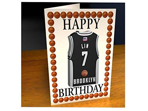 NBA basketball jersey a tema magnete Birthday Cards–Biglietto di auguri personalizzat