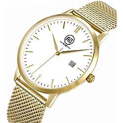 AIBI Herren-Armbanduhr Analog Quarz Edelstahl Gold/White AB51103-3