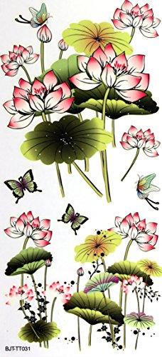GRASHINE étanches fraîches Lotus étanches et non toxiques autocollants de tatouage temporaire
