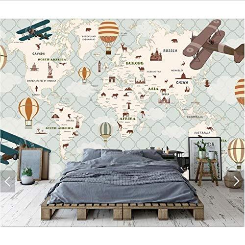 Fototapete 3D Karton Weltkarte Tapete Wandbild Kinder Schlafzimmer Tapeten Für Kinderzimmer Tapeten Kontaktpapier Heißluftballon Wandbilder-350Cmx245Cm -