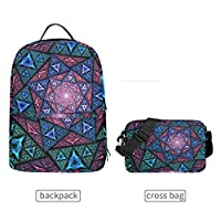 LUPINZ Mosaic Art Wallpaper Multipurpose Backpack with Detachable Cross Body Bag