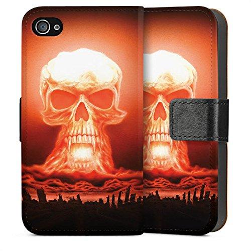 Apple iPhone 5 Housse Étui Silicone Coque Protection Explosion Tête de mort Ville Sideflip Sac