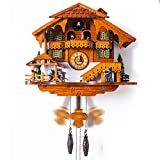 ZXLIFE@@ Schwarzwald Kuckucksuhr, ländliche Wanduhr aus Holz mit Vogelknallen und Puppe dreht Sich für Wohnzimmer,Orange