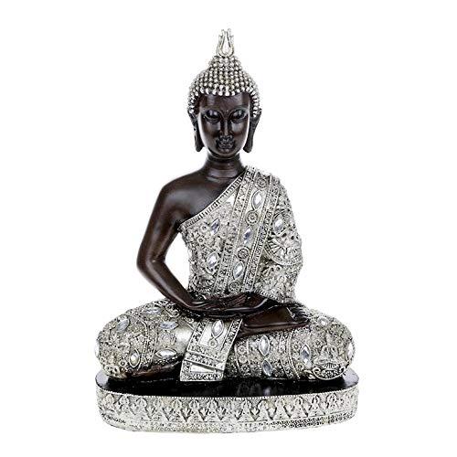 Statua grande Buddha seduto ornamento thailandese finitura in argento, altezza 34 cm