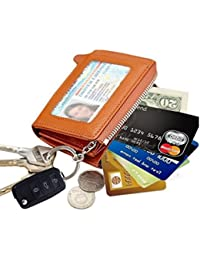 Edfamily Genuine Leather Credit Card Case Mini Key Wallets Purse For Women Men(Brown)