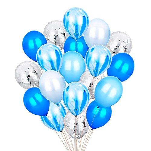 EZESO 12IN Color Brillante Confeti Globos de Fiesta de látex Globos Transparentes para el Aniversario de Boda cumpleaños celebración de Navidad bebé Ducha decoración (20pcs Conjunto Azul Blanco)