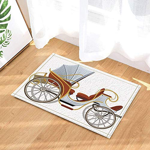 fdsdatrfet Retro Cabrio Cartoon White Art Badezimmer Anti-Rutsch-Matte Leicht zu waschen Sofort trocknend Schlafzimmermatte Weiche Faltbare Veranda Matte Wohnzimmermatte - Kind Cabrio Autositz