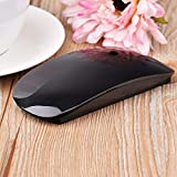 BEESCLOVER USB Wireless Slim Mouse Touch Stripe 2.4G 1200 DPI Optical Mini Mouse For Laptop Desktop PC Black