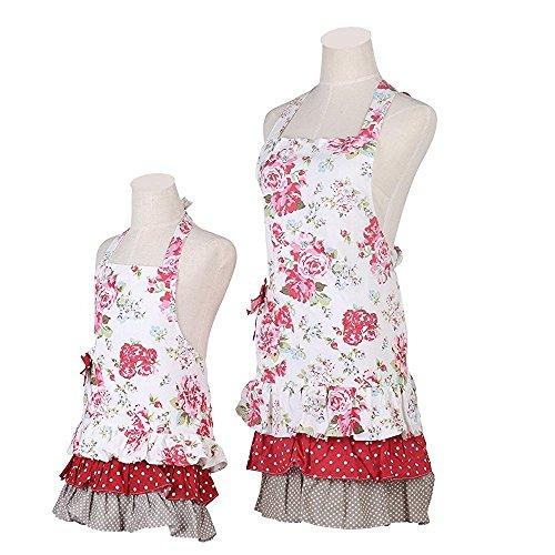 FirstKitchen Schön Frau Schürze Schürze Baumwolle Küchenschürze Modische Apron mit Taschen zum Kochen oder Backen (Mutter Schürze)