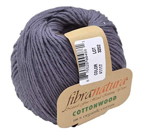 Gründl Fibranatura Cottonwood Fb. 41117 - anthrazit, 100% Organic Cotton Wolle, Baumwollgarn zum Häkeln und Stricken, Schulgarn Topflappengarn -