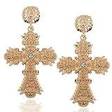 ZHWM Boucles d'oreilles Pendantes Créoles Pendantes Vintage Bo Big Gold pour Les Femmes Baroque Cristal De Bohême Grande Croix Longue Drop Dangle Bijoux Bijoux